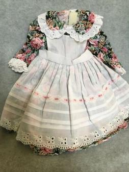 Handmade Dress for 13 inch doll Flowers With Lace Apron