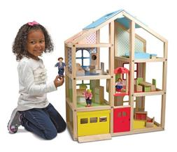 Melissa & Doug Hi-Rise Wooden Dollhouse With 15 pcs Furnitur