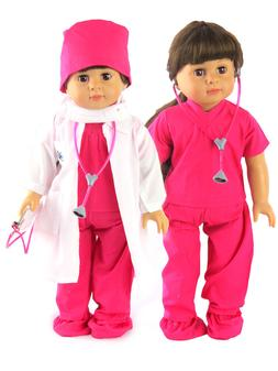 """Hot Pink Scrubs Medical Dr Stethoscope For 18"""" American Girl"""