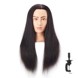 Human Hair Mannequin Hairdresser Training Doll Head Cosmetol