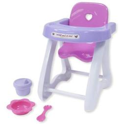 JC Toys 4-Piece Small Baby Doll Highchair Gift Set fits Smal
