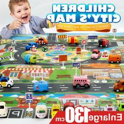 Kids Play Mat City Road Buildings Parking Map Game Scene Map
