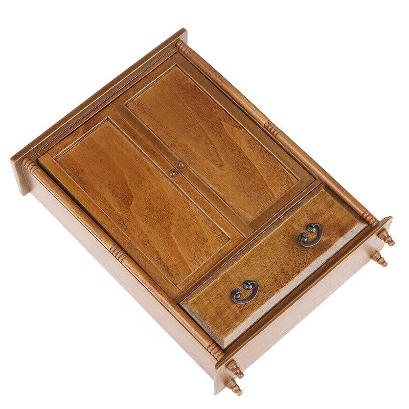1:12 House Miniature Vintage Wooden Wardrobe Model