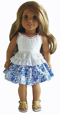 "For 18"" American Girl Summer Blouse Skirt Sandals Doll Cloth"