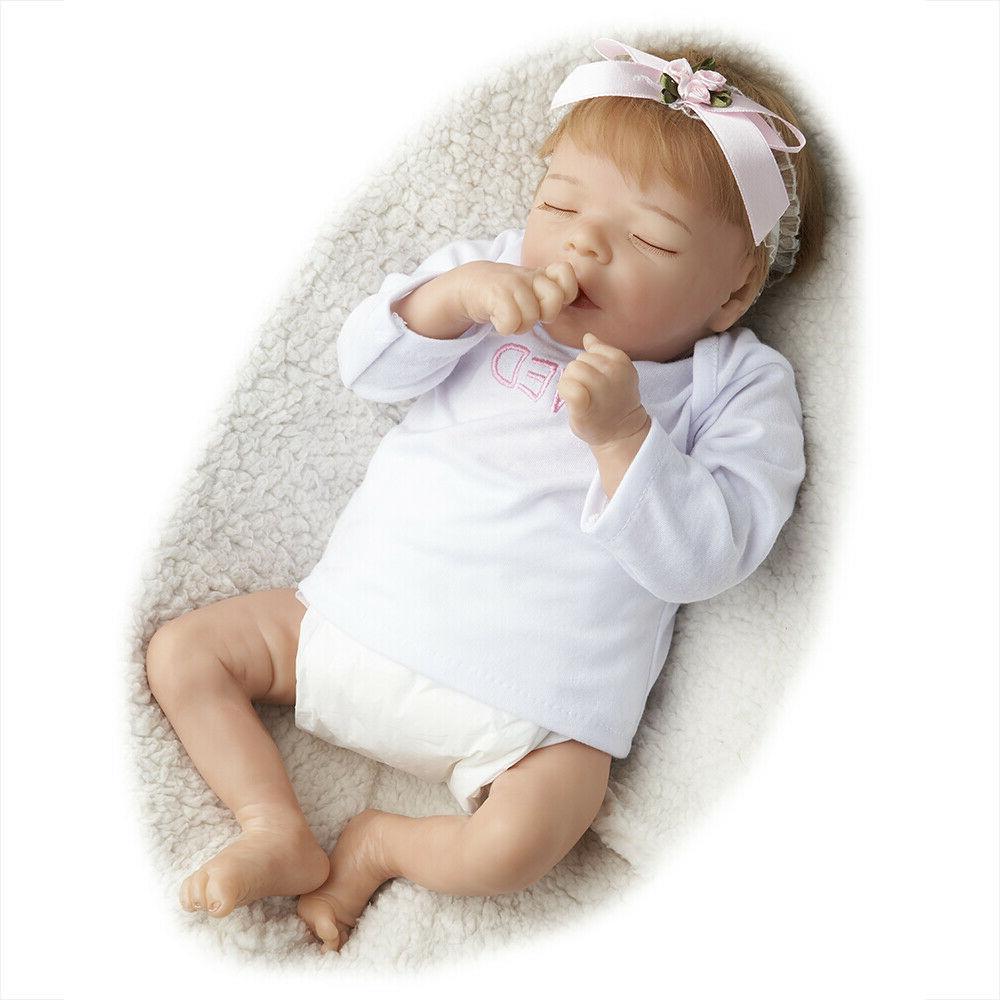Reborn Baby Dolls Sleeping Girl Cloth Body 18 Inch Realistic