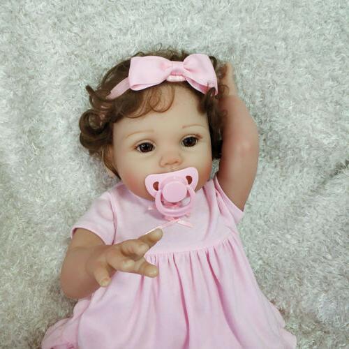 "18"" Reborn Baby Doll Full Soft Body Silicone Vinyl Newborn T"