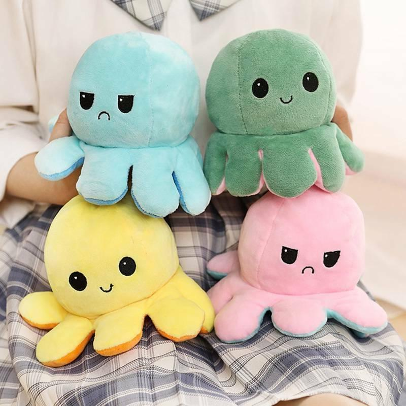 Double-Sided Flip Reversible Octopus Plush Toy  Squid Stuffe