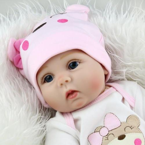 22'' Lifelike Newborn Silicone Reborn Dolls Handmade Gift