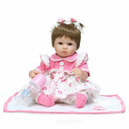 "22"" Reborn Baby Girl Dolls Lifelike Vinyl Newborn Doll Bebe"