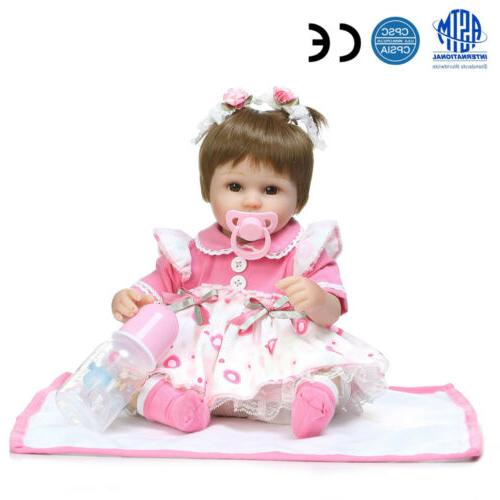 "22"" Reborn Dolls Vinyl Doll Bebe Gifts Toy Kids"