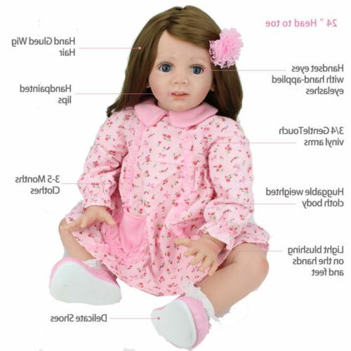 """24"""" Toddler Dolls Soft Silicone Baby Doll Gifts"""