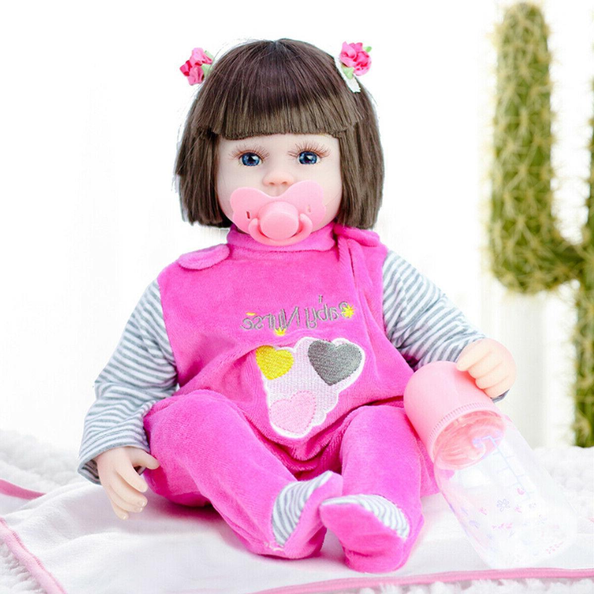 45cm Real Life Reborn Newborn Vinyl Silicone Baby Girl Dolls