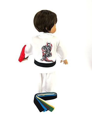 American Fashion Karate - 18 Inch Doll Includes 6 and Red Bag