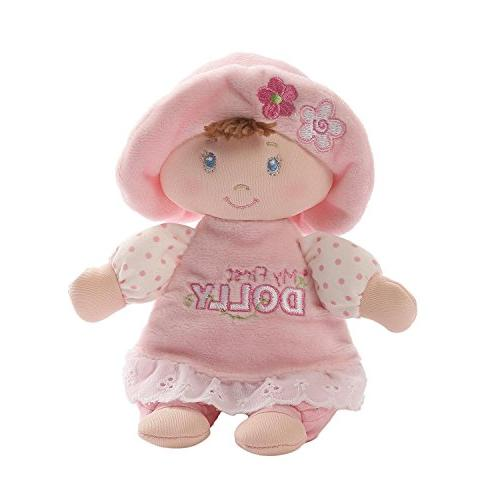 "Baby GUND My First Dolly Brunette Stuffed Plush Rattle, 7"""