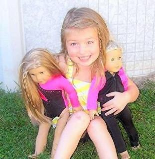 Doll Connections USA Gymnastics Outfit Compatible with American Girl Doll of The Year 2019 Blaire Wilson Doll Clothes and Accessories 18 inch Doll 4 Pieces USA Olympics Leotard w//Bonus Mat