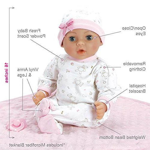 Adora 16 Girl Newborn Weighted Body Baby Doll Gift with Close Blue Eyes 3 Year old kids and up
