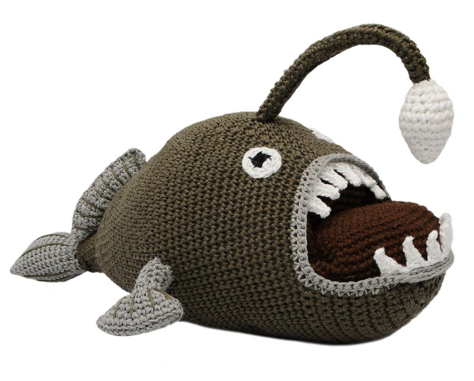 anglerfish hand knitted doll angler fish handmade