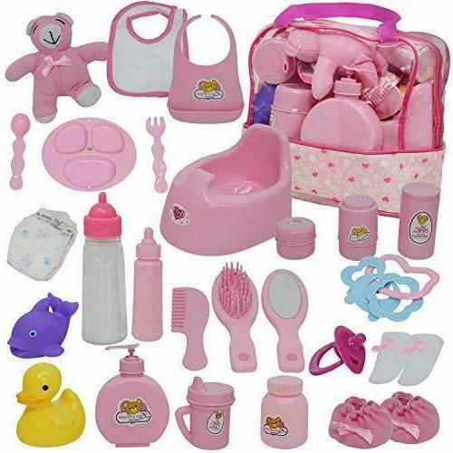 baby doll diaper bag set doll feeding