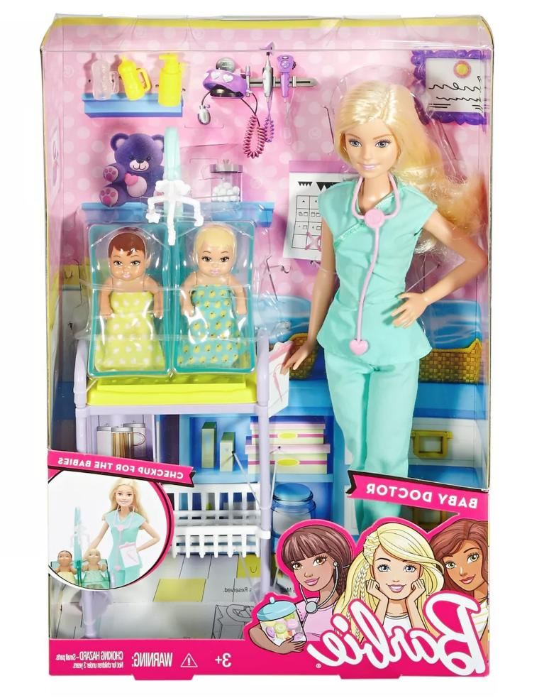 barbie baby doctor playset 2 baby dolls
