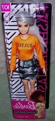 Barbie Fashionistas in Orange Top & Camo Skirt Doll #107 New