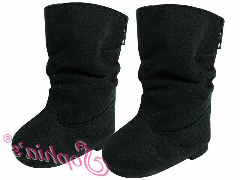black suede slouchy boots 18 inch doll