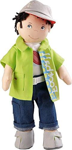 "HABA Boy Doll Steven 15"" Soft Doll with Dark Hair, Grey Eyes"