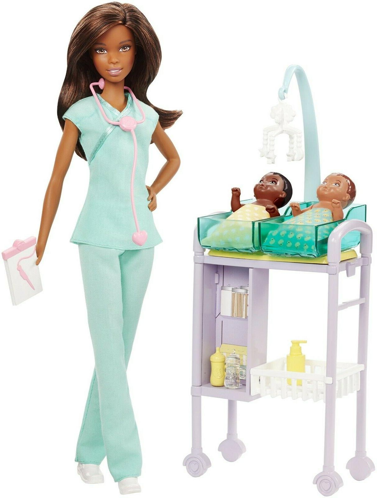 careers baby doctor doll playset brunette