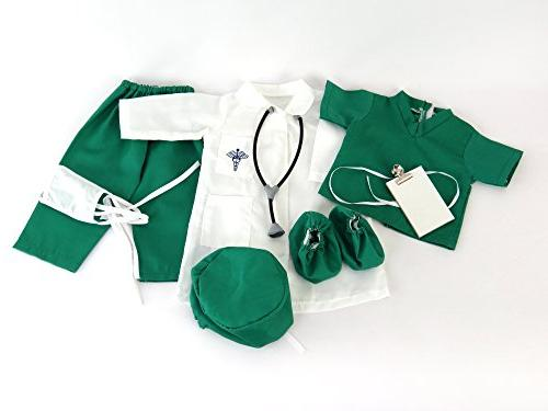 Doctor or 7 pc Inch Clothes Complete Lab Medical Green Shoe Covers, Cap,