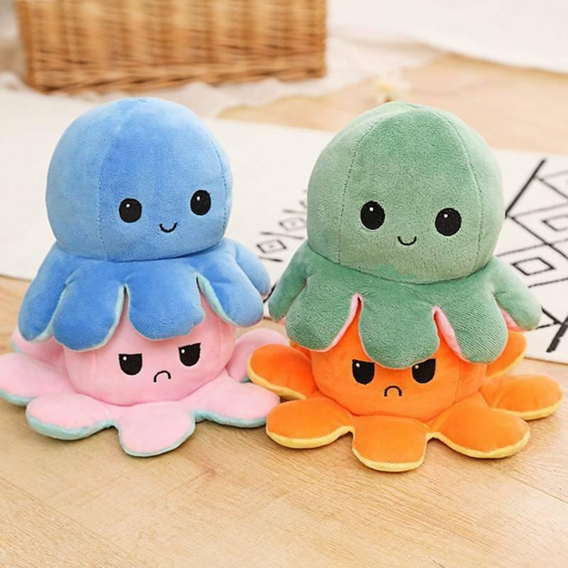 1X Octopus Doll Emotional Face Double-Sided Flip Toy