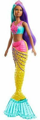 Barbie Dreamtopia Mermaid Doll, 12-inch, Teal and Purple Hai