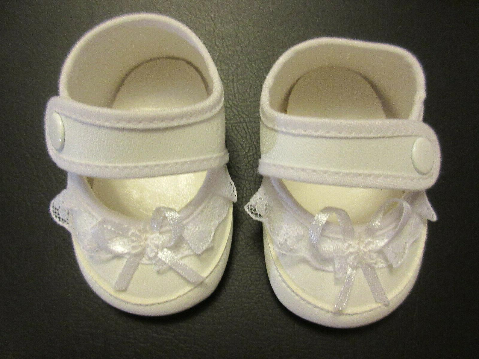 fancy white baby doll shoes w snaps