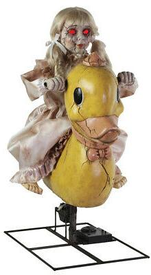 HALLOWEEN LIFE SIZE ANIMATED ROCKING DUCKY DUCK DOLL PROP HA