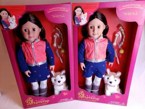 Our Generation Leslie Doll with Pet Husky Dog and Accessorie