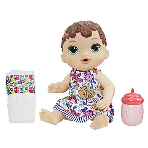 Baby Alive E0499 Lil Sips Brunette Baby Girl Doll, Multicolo