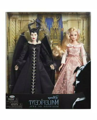 live action maleficent and aurora doll set
