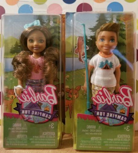 Lot of 2 Barbie Chelsea Dolls Girl Camping Fun Brunette