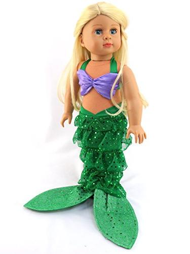 "Mermaid Halloween Bikini Mermaid   18"" American Girl Madame Alexander, etc.   Doll Clothes"