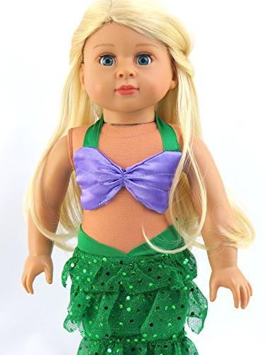 """Mermaid Halloween Outfit Bikini Top and Sequin Mermaid 18"""" American Girl Madame Our etc. Doll Clothes"""