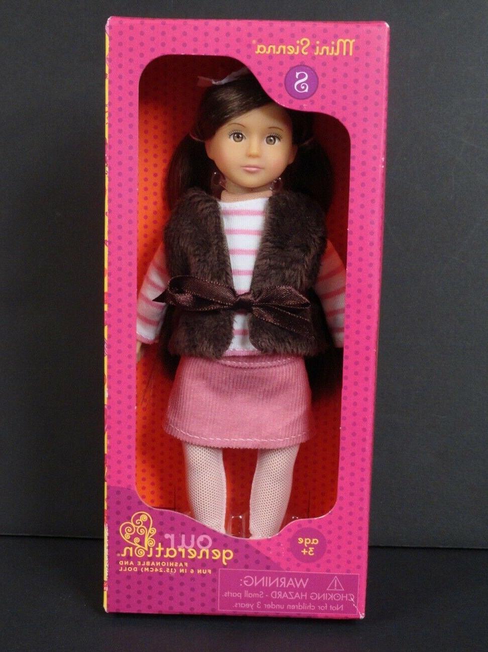 "Mini 6"" Doll ~ hair Brown eyes ~ NIB"