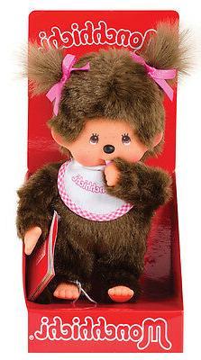 """MONCHHICHI GIRL Original Sekiguchi 7.5"""" Pink Bib Monchichi p"""