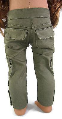 "Olive Cargo Skinny Pants for 18"" American Girl Boy Logan Dol"