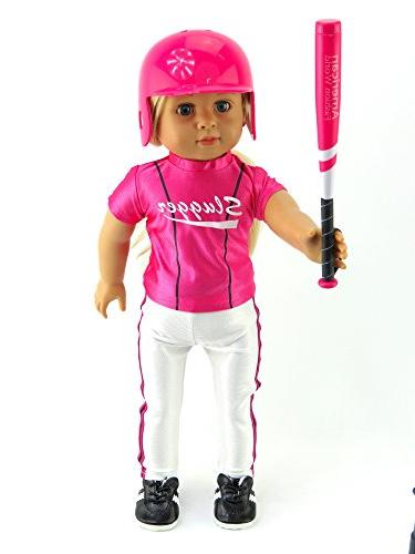 "Hot Pink Uniform with Baseball and 18"" American Girl Dolls, Madame Our Generation, etc. 