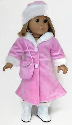 Pink Velour Coat, Purse & Hat w/Fur Trim for 18 inch America