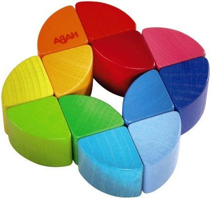 rainbow ring wooden clutching toy