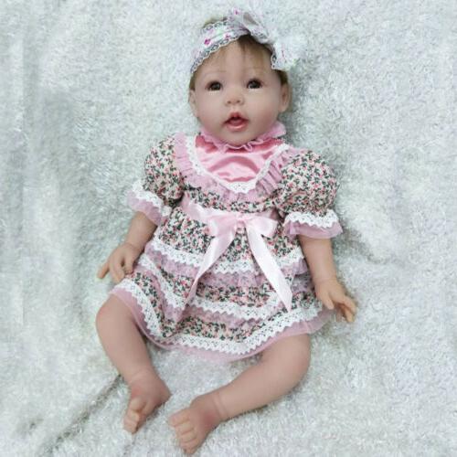 "22"" Reborn Baby Dolls Silicone Vinyl Handmade baby Girl Kids"