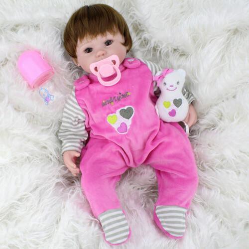 "16"" Reborn Baby Girl Dolls Lifelike Vinyl Newborn Doll Bebe"