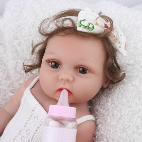 "18"" Baby Girl Dolls Silicone Handmade Full Body Newborn Doll"