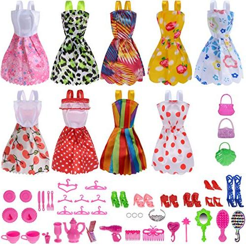 total 50pcs pack doll clothes party gown outfits 41pcs diffe