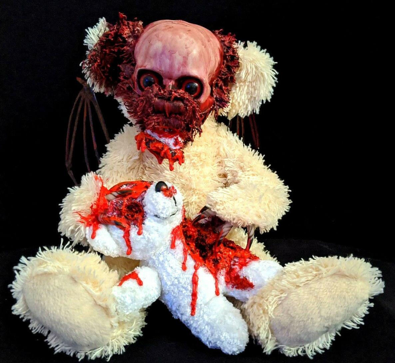 Winged Zombie Teddy Halloween Decoration Gothic Display