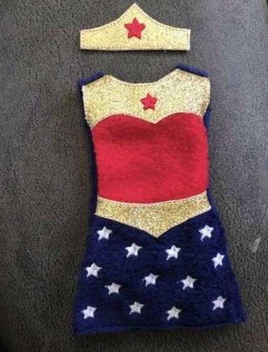 Wonder Woman Costume For 12 Inch Dolls.  Elf & Barbie Dolls